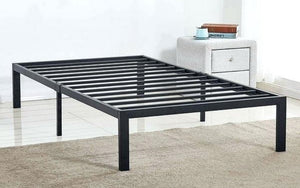 Platform Metal Bed with Leather - Black