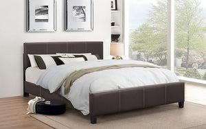 Platform Bed Bonded Leather with Adjustable Height - Espresso