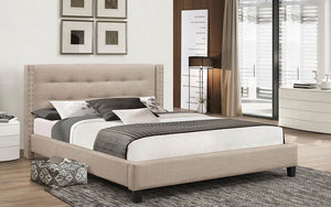Platform Bed with Button-Tufted Fabric - Beige
