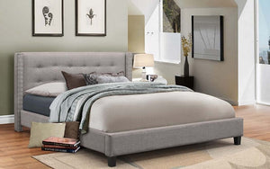 Platform Bed with Button-Tufted Fabric - Grey