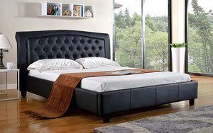 Platform Bed with Bonded Leather  - Black