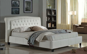 Platform Bed with Bonded Leather  - White