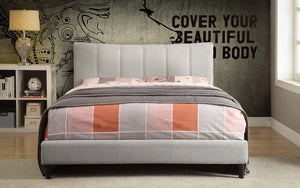 Platform Bed with Linen Style Fabric - Beige