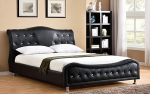Platform Bed Bonded Leather with Jewels - Black
