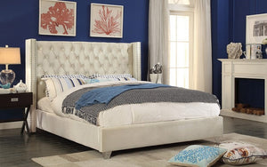 Platform Bed with Velvet Fabric - Creme