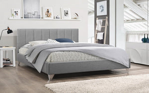 Platform Bed with Vertical Tufted Fabric and Chrome Legs - Grey