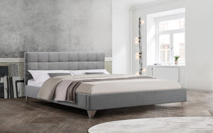 Platform Bed with Square Tufted Fabric and Chrome Legs - Grey