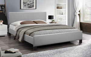 Platform Bed with Bonded Leather - Grey