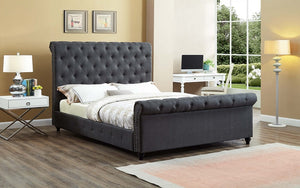 Platform Sleigh Bed with Button Tufted Linen Style Fabric - Charcoal