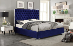Platform Bed with Velvet Fabric and Chrome Legs - Grey