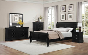 Sleigh Bedroom Set 8 pc - Black