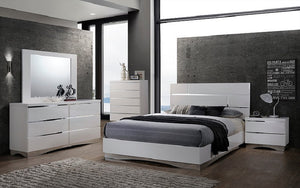 Bedroom Set with Mirror Accents High Gloss Head Board 8 pc - White