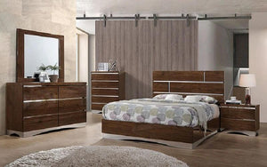 Bedroom Set with Mirror Accents High Gloss Head Board 8 pc - Brown