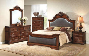 Bedroom Set with Leather Insert Head-Foot Board 8 pc - Antique Brown