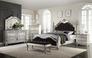 Bedroom Set with Mirror and Tufted Head - Foot Board  8 pc - Silver