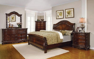 Sleigh Bedroom Set with Wood Detail 8 pc - Dark Cherry