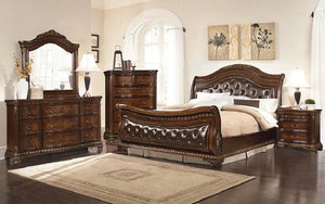 Sleigh Bedroom Set with Tufted Head-Foot Board 8 pc - Dark Walnut