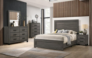 Bedroom Set with Flat Panel Accented 8 pc - Washed Grey