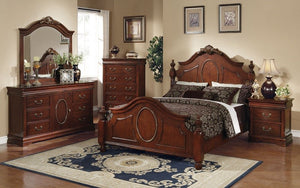 Bedroom Set with Wood Insert Head Board 8 pc - Brown Cherry