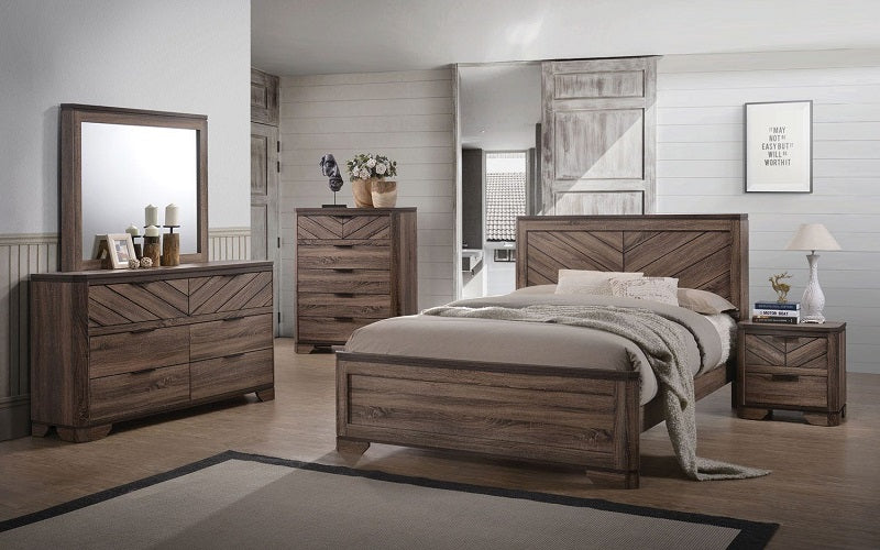Bedroom Set with Deep Lines Accented 8 pc - Brown Paper & Black ...