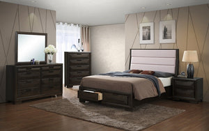 Bedroom Set with Fabric Head Board & Drawers 8 pc - Cappuccino Grey