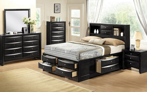 Bedroom Set with Bookcase Headboard & Drawers 8 pc - Black