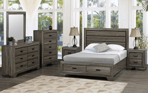 Bedroom Set with Deep Lines Accented & Drawers 8 pc - Distressed Grey