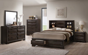 Bedroom Set with Bookcase Headboard & Drawers 8 pc - Espresso