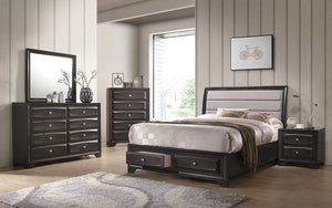 Bedroom Set with Fabric Head Board & Drawers 8 pc - Antique Cappuccino Grey