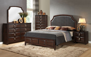 Bedroom Set with Leather Head & Accented Foot Board - 8 pc - Brown