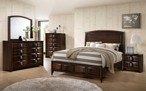 Bedroom Set with Accented Head & Foot Board - 8 pc - Brown