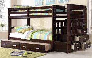 Bunk Bed - Twin over Double with 2 Drawers, Staircase Solid Wood - White