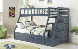 Bunk Bed - Twin over Double with 2 Drawers, Staircase Solid Wood - Grey