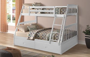 Bunk Bed - Twin over Double with 2 Drawers Solid Wood - White