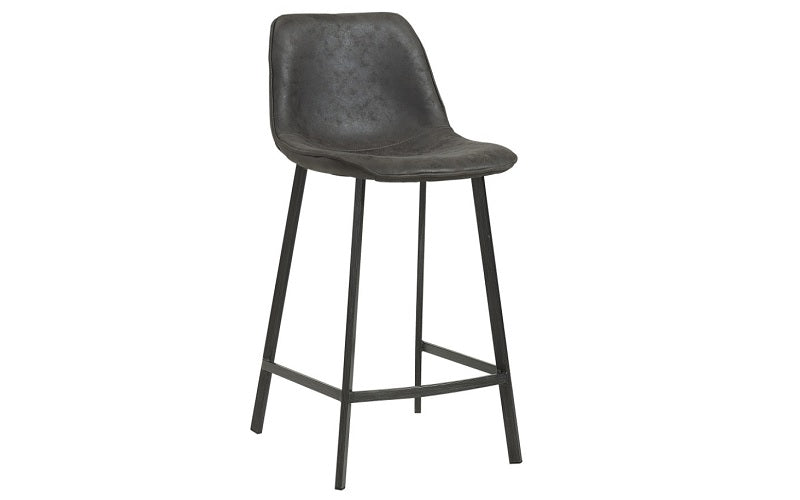 Bar Stool With Suede Fabric Seat & Metal Legs - Brown | Grey