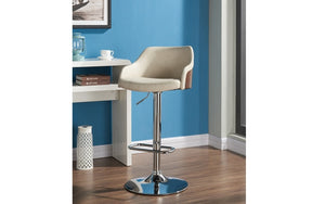 Bar Stool With Curved & 360° Swivel Fabric or Leather Seat - Grey | Ivory