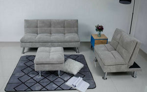 Fabric Sofa Bed Set - 3 pc - Grey