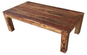 Coffee Table with Solid Wood - Dark Natural