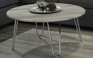 Coffee Table with Round Top - Driftwood & Chrome