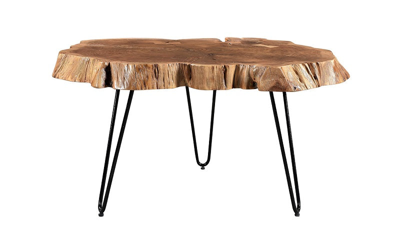 Coffee Table with Solid Wood - Natural & Black