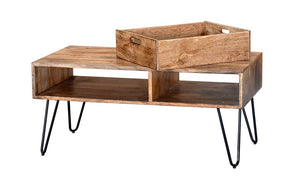Coffee Table with Drawer – Natural & Black
