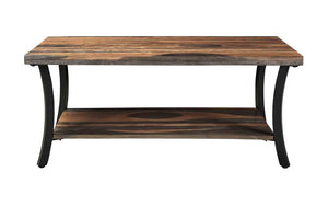 Coffee Table with Shelf - Natural & Black