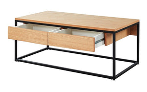 Coffee Table with Drawers – Oak & Black