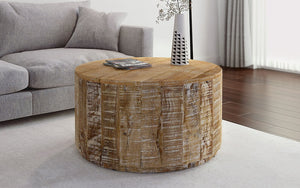 Coffee Table with Solid Wood - Distressed Natural