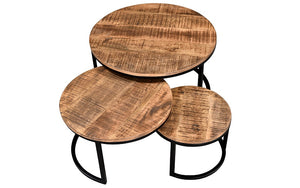 Coffee Table Set with Round Leg – Natural & Black