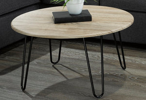 Coffee Table with Round Top - Natural & Black