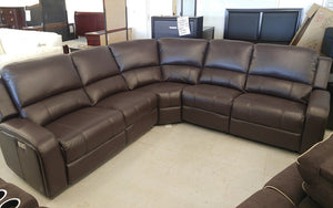 Recliner Corner Sectional with Air Leather - Black | Chocolate
