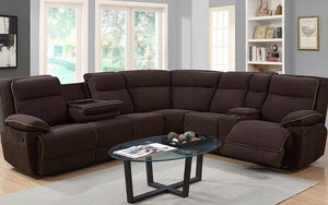 Recliner Corner Sectional with Fabric - Chocolate