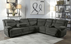 Recliner Corner Sectional with Fabric - Grey