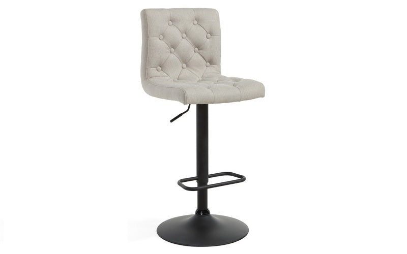 Bar Stool With High Back & 360° Swivel Fabric Seat - Grey | Beige - Set of 2 pc